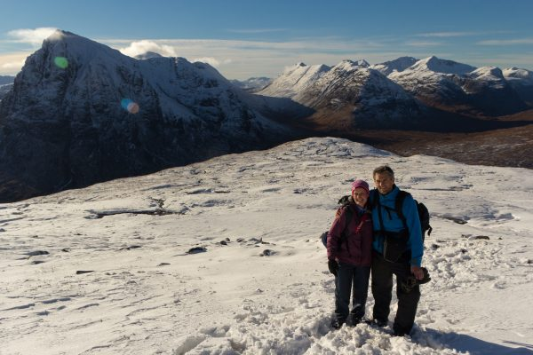 Anne Johnston and JP on Beinn a'Chrulaiste, Glen Coe