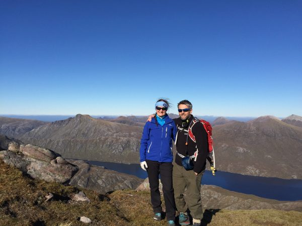 Anne Johnston and JP on the summit of Slioch, Torridon