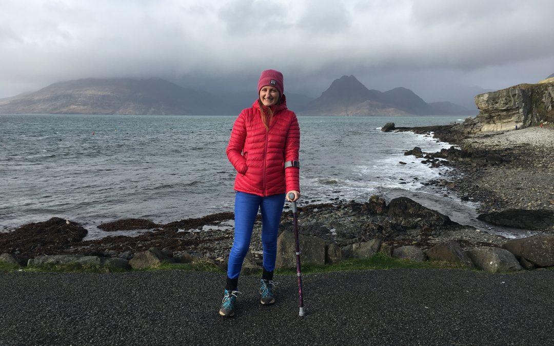 Anne Johnston at Elgol on the first anniversary of her brain injury